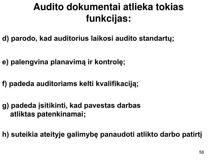 Audito dokumentai atlieka tokias funkcijas: