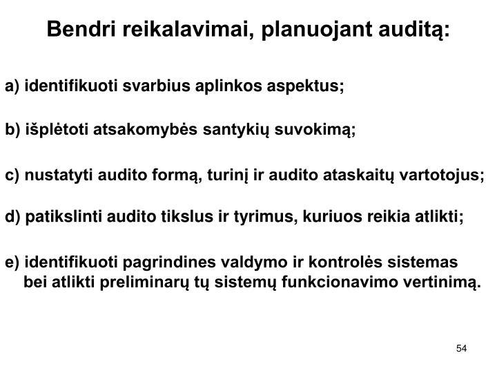 Bendri reikalavimai, planuojant auditą: