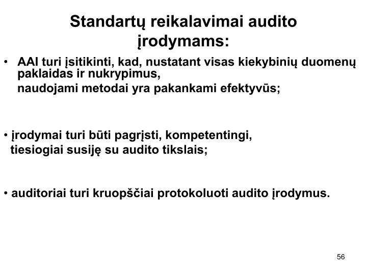 Standartų reikalavimai audito įrodymams: