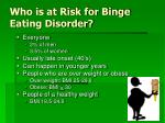 who is at risk for binge eating disorder