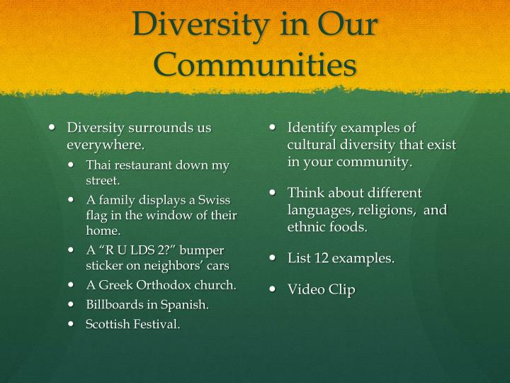 Diversity in Our Communities