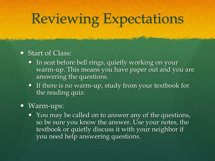 Reviewing Expectations