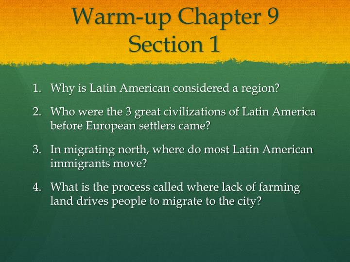 Warm-up Chapter 9 Section 1