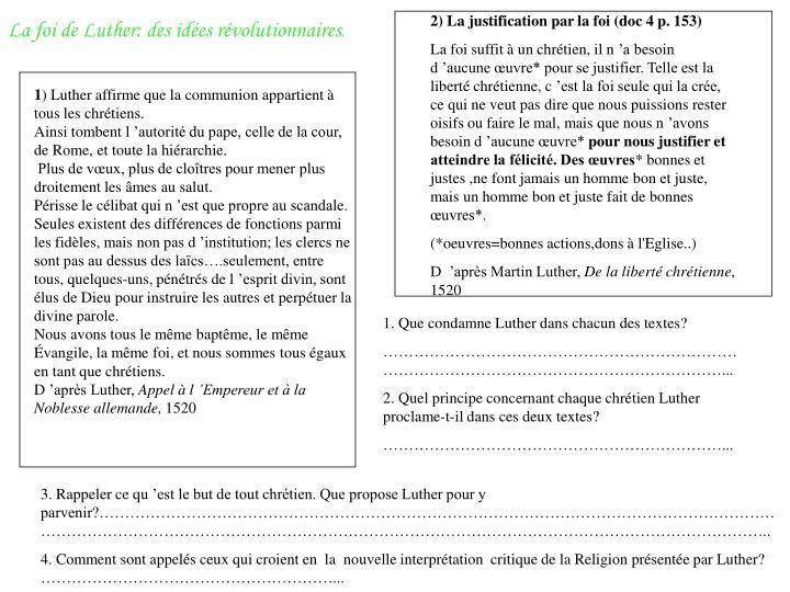 2) La justification par la foi (doc 4 p. 153)