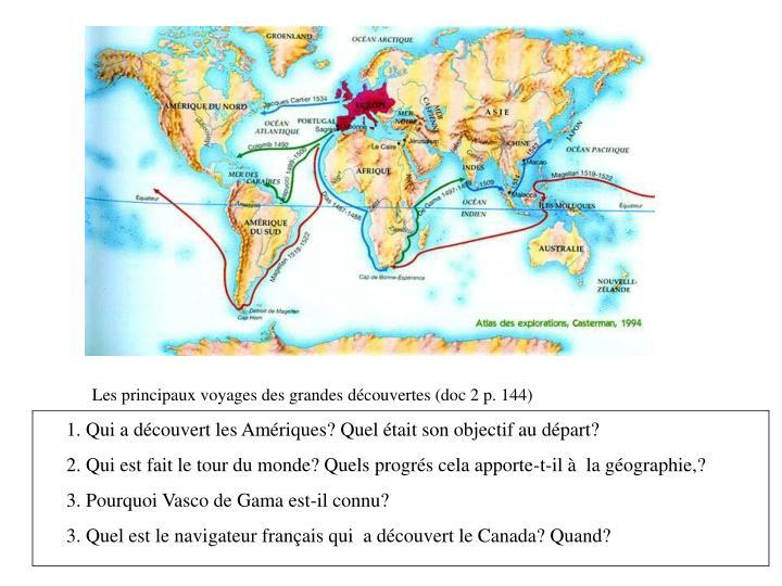 Les principaux voyages des grandes découvertes (doc 2 p. 144)