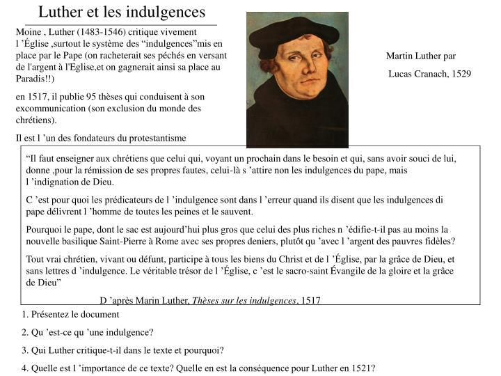 Luther et les indulgences