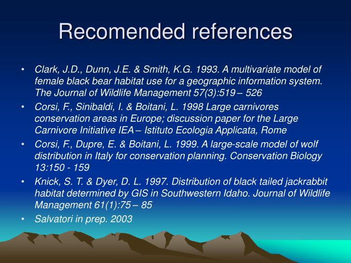 Recomended references