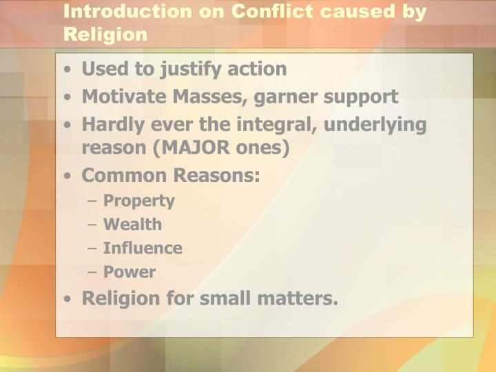 Introduction on conflict caused by religion