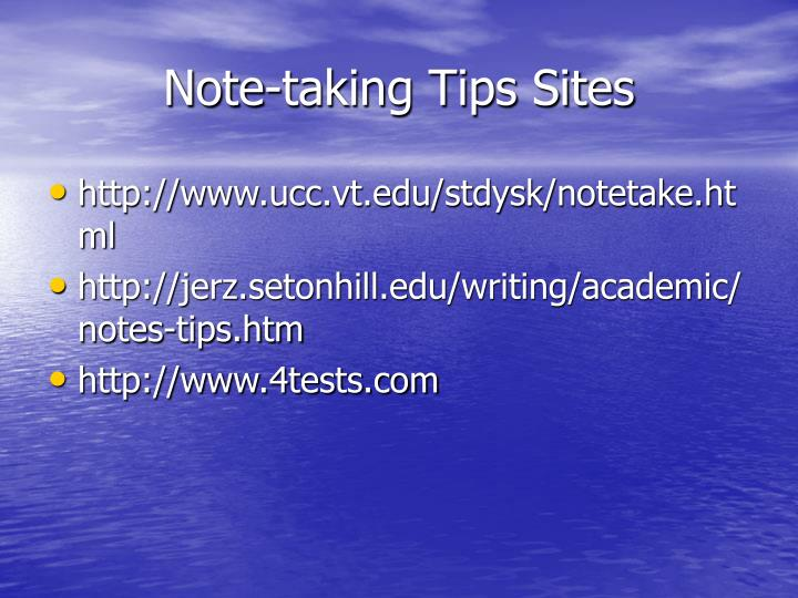 Note-taking Tips Sites