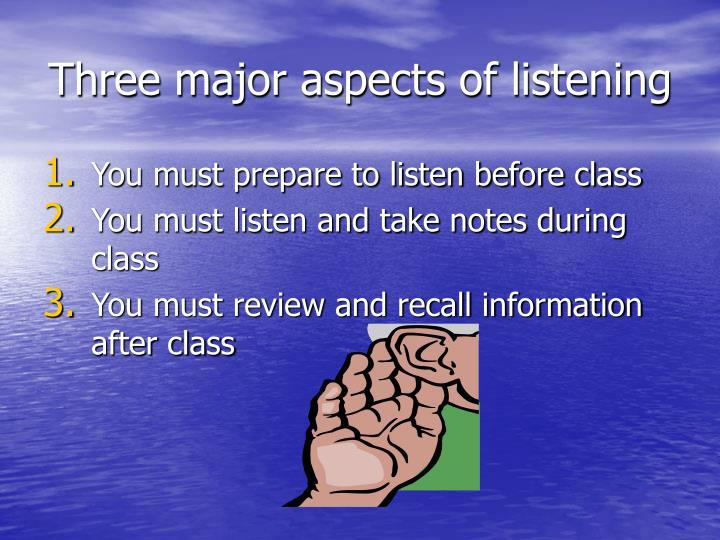 Three major aspects of listening