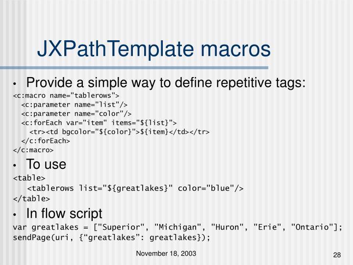 JXPathTemplate macros