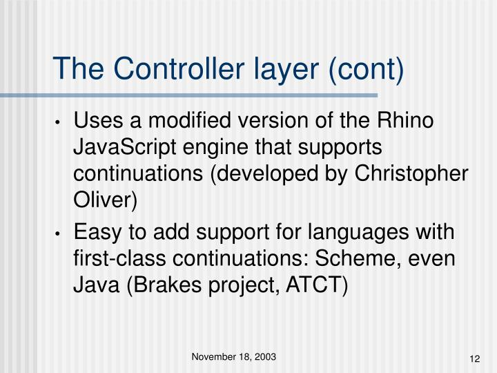 The Controller layer (cont)