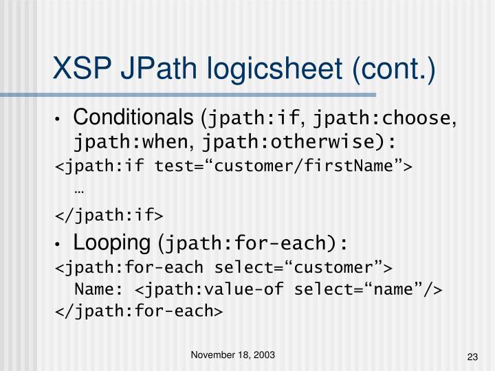 XSP JPath logicsheet (cont.)