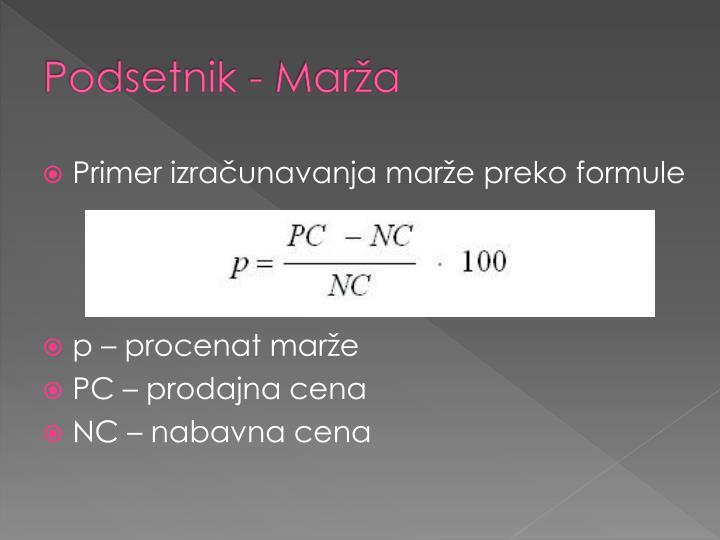 Podsetnik - Marža