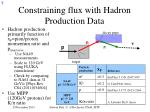 constraining flux with hadron production data