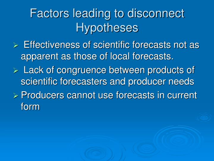 Factors leading to disconnect