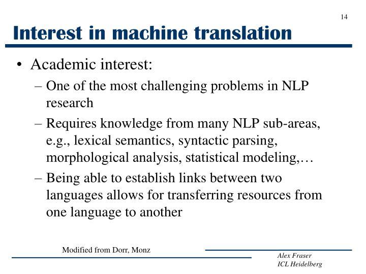 Interest in machine translation
