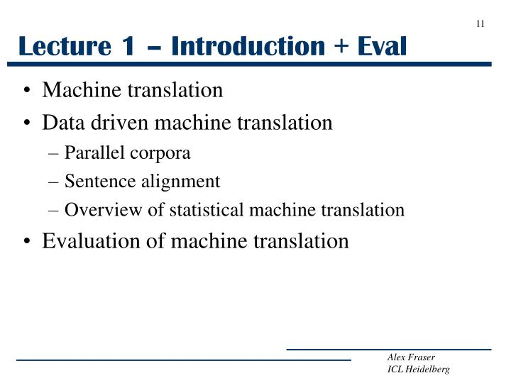 Lecture 1 – Introduction + Eval