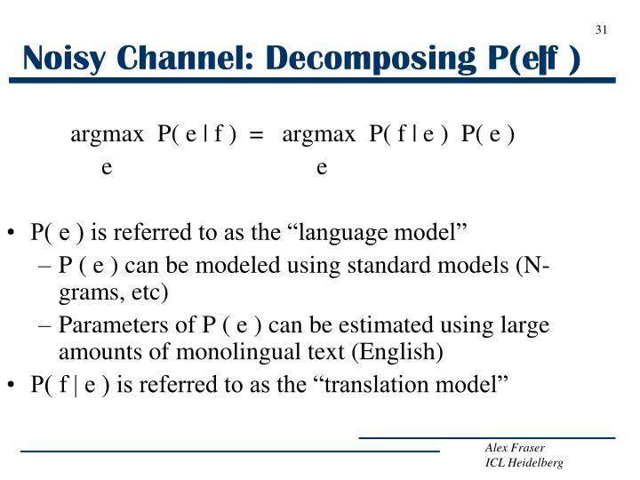 Noisy Channel: Decomposing P(e|f )