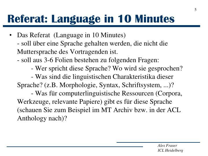 Referat: Language in 10 Minutes