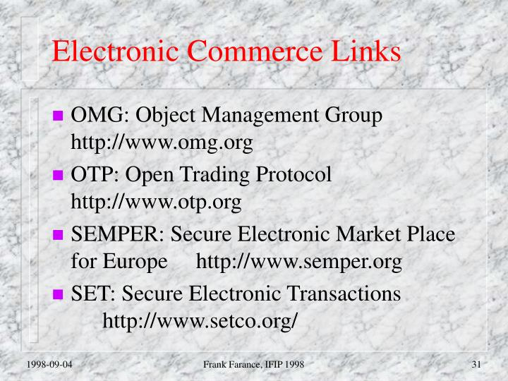 Electronic Commerce Links