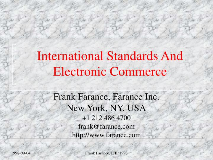 International standards and electronic commerce