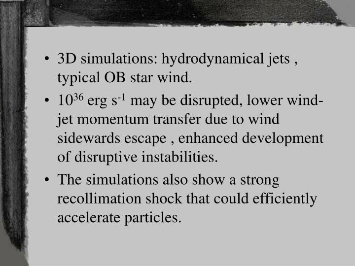 3D simulations: hydrodynamical jets , typical OB star wind.