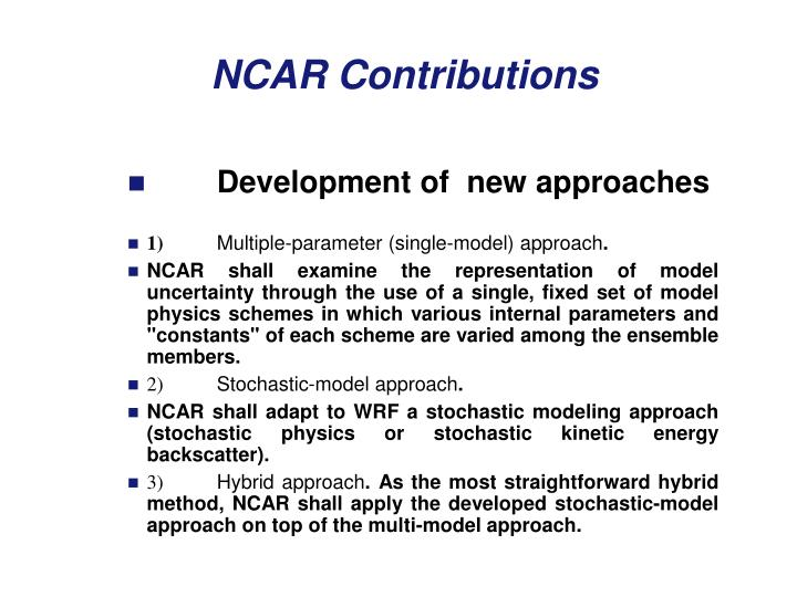 Development of  new approaches