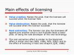 main effects of licensing