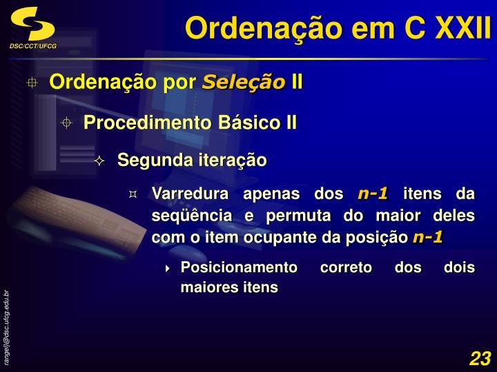 Ordenação em C XXII