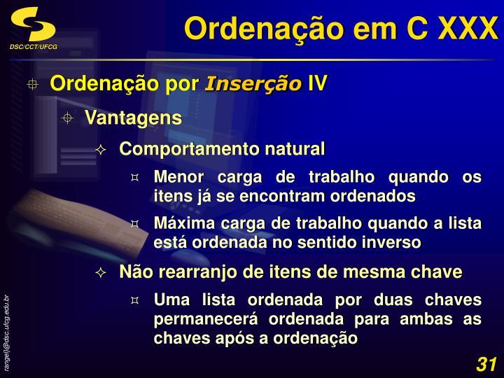 Ordenação em C XXX