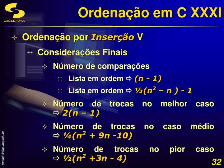Ordenação em C XXXI