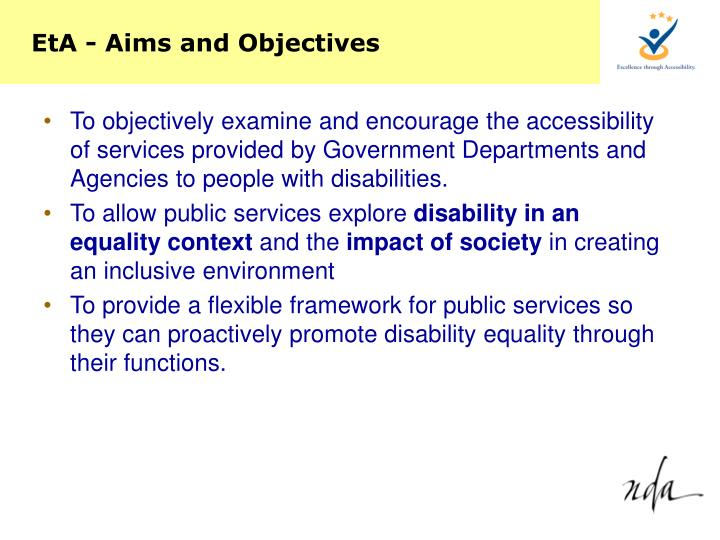 EtA - Aims and Objectives
