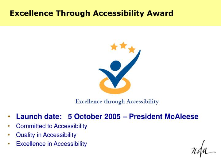 Excellence Through Accessibility Award