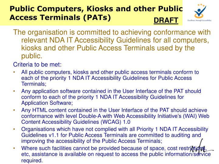 Public Computers, Kiosks and other Public Access Terminals (PATs)