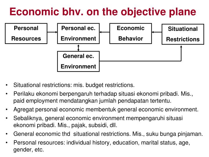Economic bhv. on the objective plane