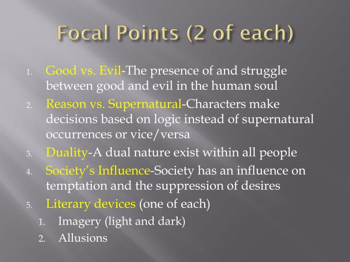 Focal Points (2 of each)