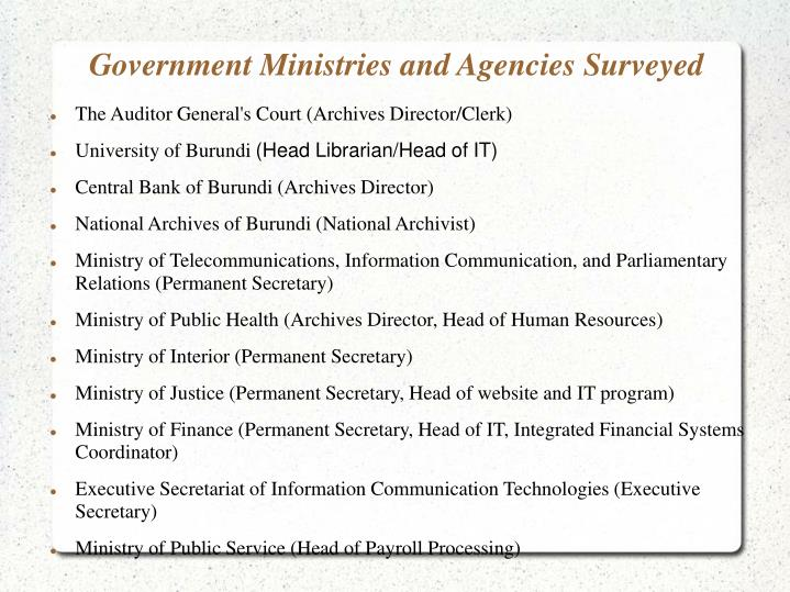 Government Ministries and Agencies Surveyed