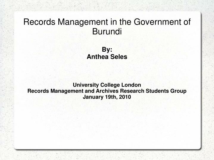 Records Management in the Government of Burundi