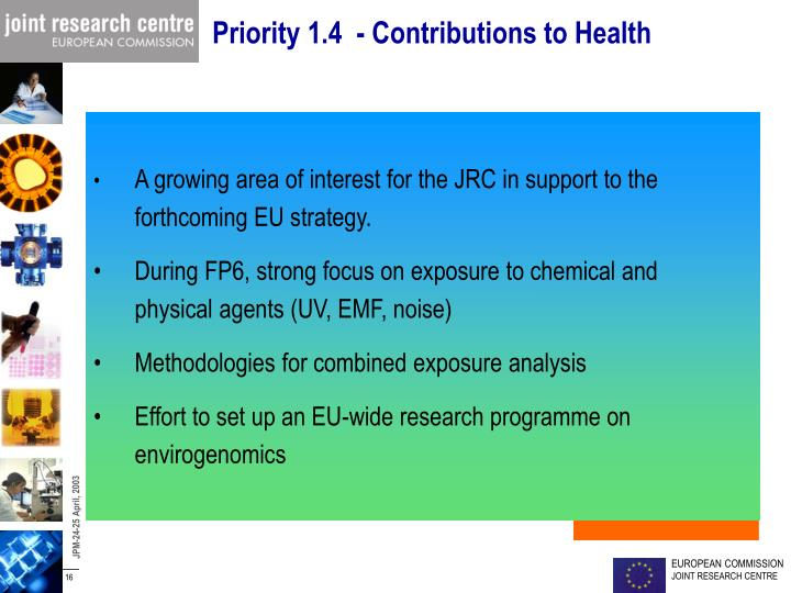 Priority 1.4  - Contributions to Health