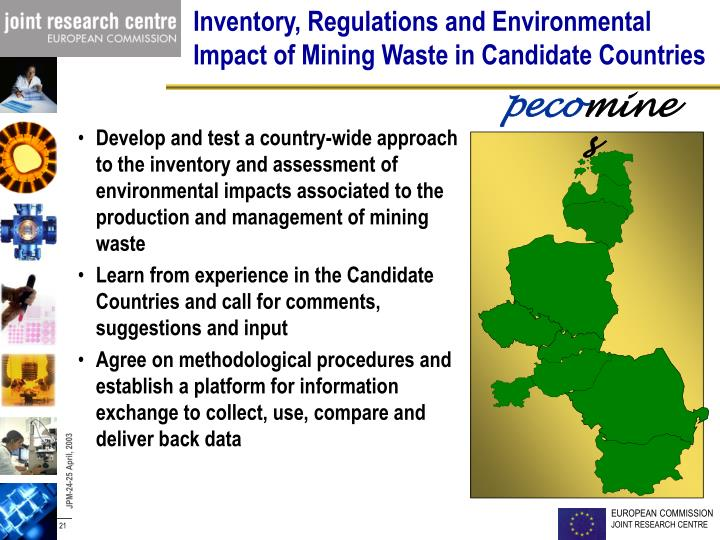 Inventory, Regulations and Environmental Impact of Mining Waste in Candidate Countries