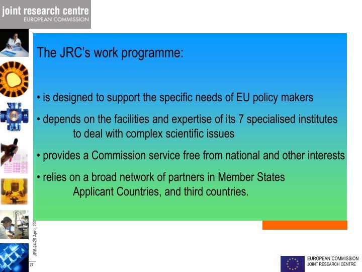 The JRC's work programme: