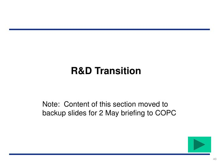 R&D Transition