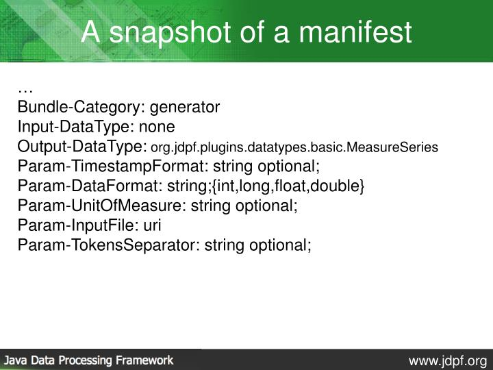 A snapshot of a manifest