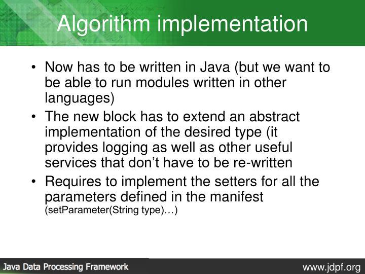 Algorithm implementation