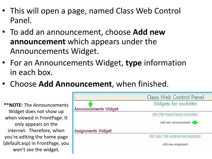 This will open a page, named Class Web Control Panel.