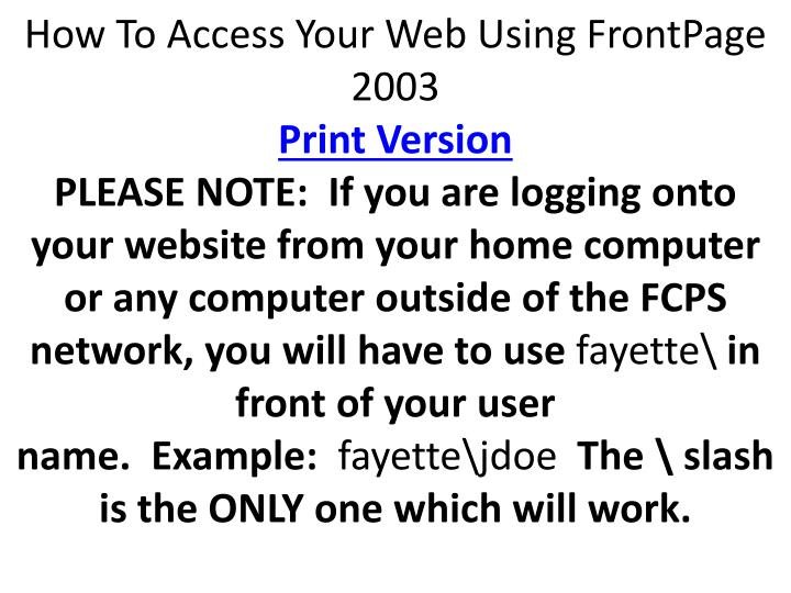How To Access Your Web Using FrontPage 2003
