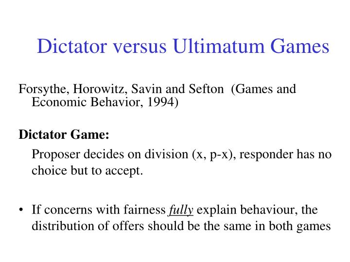 Dictator versus Ultimatum Games