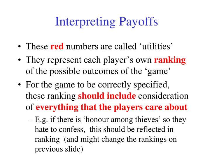 Interpreting Payoffs