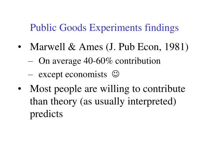 Public Goods Experiments findings